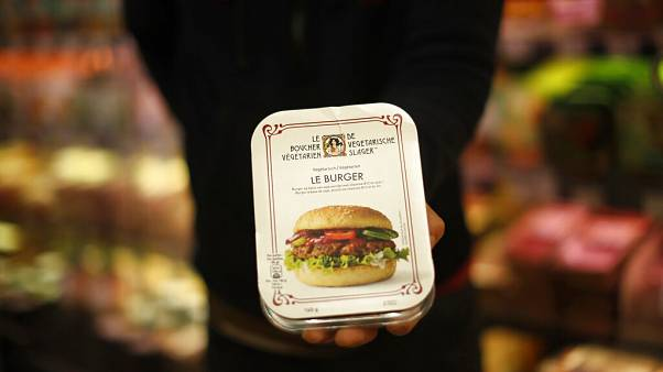 Belçika'da 'vegan burger' adı altında satılan bir ürün.