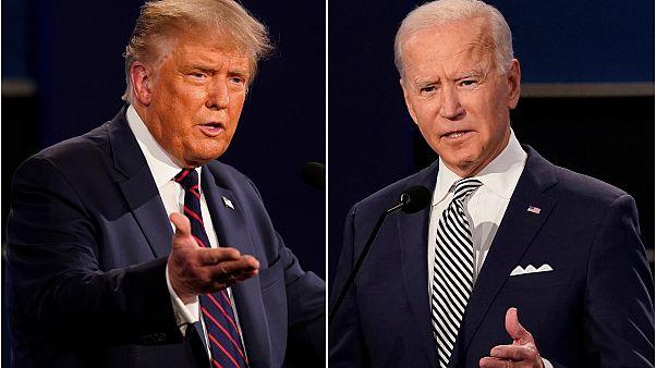 الرئيس دونالد ترامب، إلى اليسار، ونائب الرئيس السابق جو بايدن خلال المناظرة الرئاسية الأولى في جامعة كيس ويسترن وكليفلاند كلينك، أوهايو، 29 سبتمبر 2020
