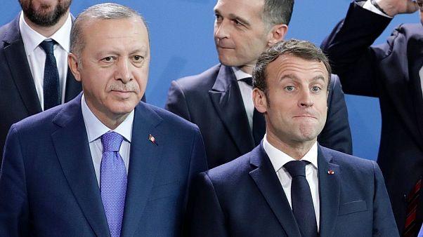 امانوئل ماکرون، رئیس جمهوری فرانسه و رجب طیب اردوغان، رئیس جمهوری ترکیه
