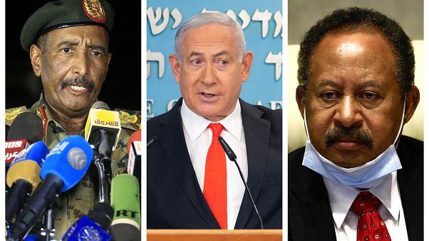 Sudan Konsey Başkanı Orgeneral Abdulfettah el-Burhan, İsrail Başbakanı Binyamin Netanyahu ve Sudan Başbakanı Abdullah Hamduk