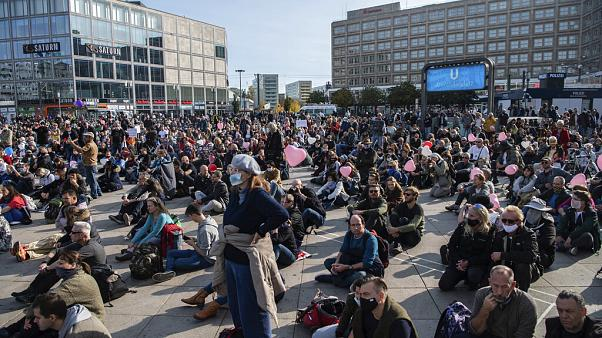 Protest am Alexanderplatz in Berlin