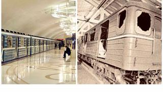 A bakui metró napjainkban és az 1995-ben kiégett metrókocsi
