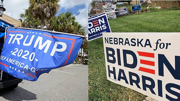 Election signs for different presidential candidates in Florida (left) and Nebraska (right).