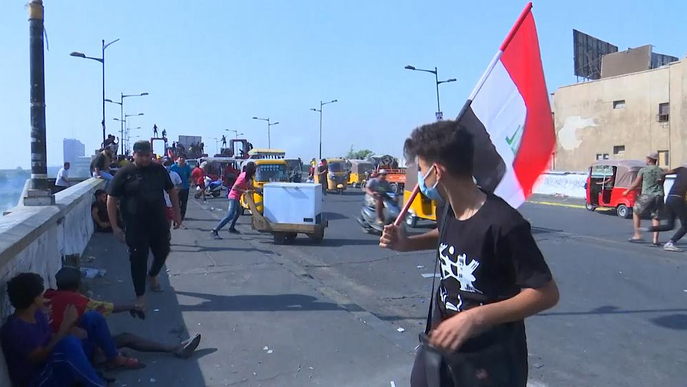 Protesters return to Baghdad streets after anniversary rally