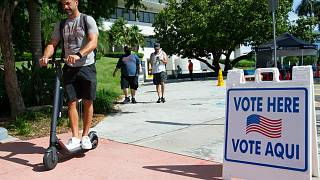 People cast their votes during early voting for the general election at Miami Beach City Hall on Wednesday, October 28, 2020, in Miami Beach.