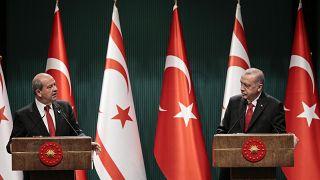 KKTC Cumhurbaşkanı Ersin Tatar ve Cumhurbaşkanı Erdoğan