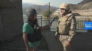 Euronews reporter Emin Ibrahimovic interviews Col Babek Semidli of the Azerbaijani Army
