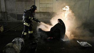 Löschung eines Brandes in Turin