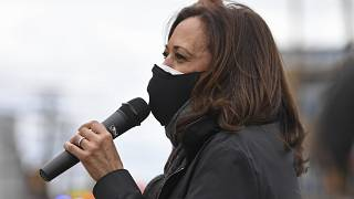 Kamala Harris spoke to voters outside the Cuyahoga County Board of Elections during a campaign event on Saturday.