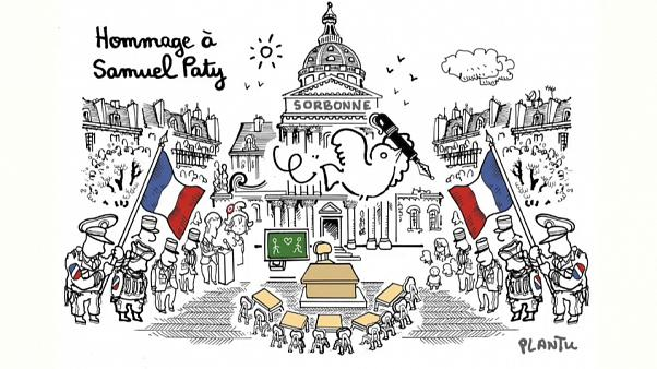 Karikatur Plantus zur Hommage an den ermordeten Lehrer Samuel Paty