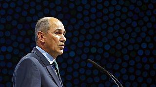 Janez Jansa speaks during the European Peoples Party (EPP) congress in Zagreb, Croatia