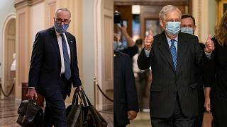 Left: Senate Minority Leader Chuck Schumer, a Democrat from NY; Right: Senate Majority Leader Mitch McConnell, a Republican from Kentucky.