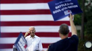 Democratic presidential candidate former Vice President Joe Biden greets supporters at a drive-in rally at Cellairis Amphitheatre in Atlanta, Tuesday, Oct. 27, 2020.