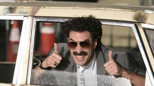 """Oct. 23, 2006, file photo, actor Sacha Baron Cohen arrives in character as Borat for the film premiere of """"Borat:"""