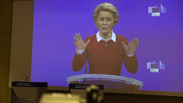 Ursula von der Leyen au cours d'une visioconférence à Bruxelles, le 28 octobre 2020