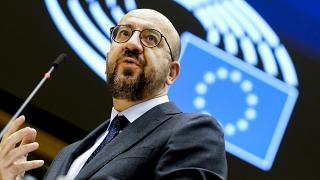European Council President Charles Michel addresses the chamber on a report of last weeks EU summit during a plenary session at the European Parliament in Brussels, 2020.