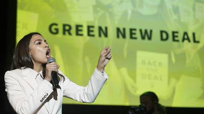 Rep. Alexandria Ocasio-Cortez, D-N.Y., addresses The Road to the Green New Deal Tour final event at Howard University in Washington, Monday, May 13, 2019.