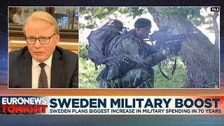 Sweden's Defence Minister Peter Hultqvist speaking to Euronews Tonight