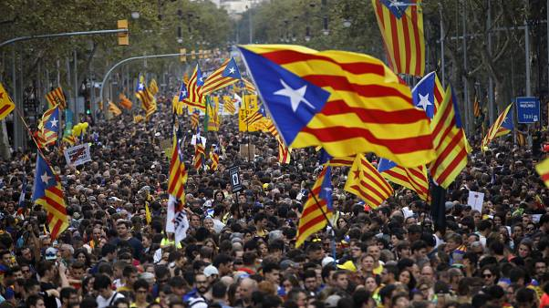 Pro-independence flags on display during a demonstration in Barcelona, October 2019.