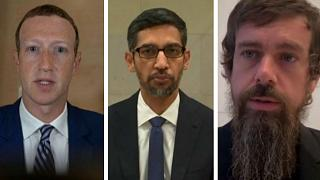 Facebook CEO Mark Zuckerberg, Alphabet Inc and Google CEO  Sundar Pichai and Twitter CEO Jack Dorsey.