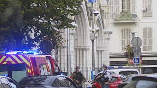 French police next to Notre Dame church after a suspected terrorist knife attack in Nice, southern France, October 29, 2020.
