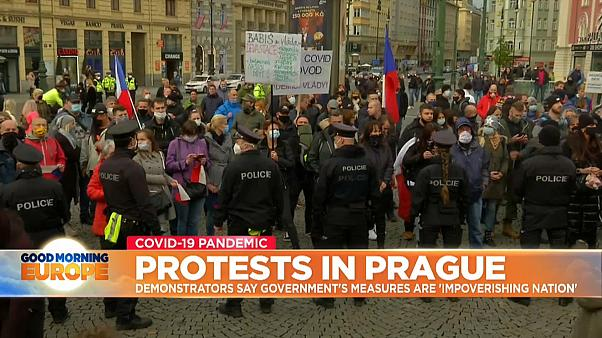 Protests against Covid measures in Prague