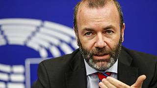 Germany's Manfred Weber, of the group of the European People's Party (Christian Democrats), during a press briefing at the European Parliament in Strasbourg, eastern France