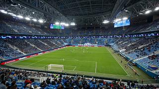 The Champions League group F soccer match between Zenit St.Petersburg and Brugge at the Saint Petersburg stadium in St. Petersburg, Russia, Tuesday, Oct. 20, 2020.
