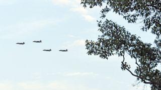 سرب من طائرات إف-35 الحربية في سماء واشنطن في يوم الاستقلال
