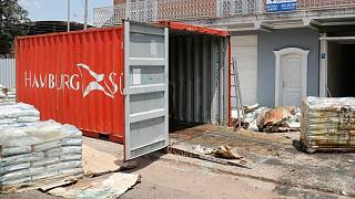 Human remains were discovered in a street container outside an office building in Asuncion, Paraguay, last week.