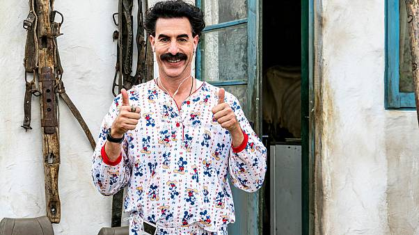 """This image released by Amazon Studios shows Sacha Baron Cohen in a scene from """"Borat Subsequent Moviefilm."""""""