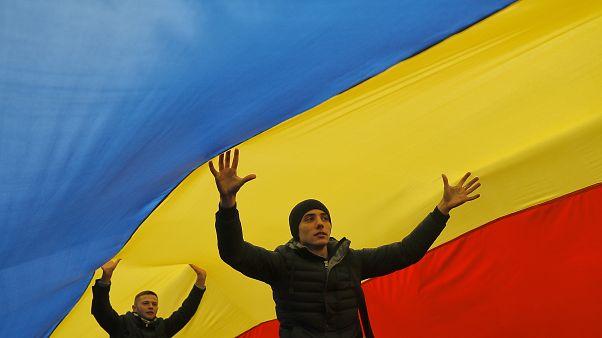 Una protesta dopo l'ultima vittoria del presidente Igor Dodon. Chisinau 14 Novembre 2016