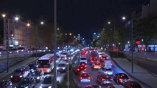 Cars stuck on a Paris road ahead of France's second lockdown.