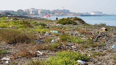 Garbage is seen along a beach at Fiumicino, near Rome.