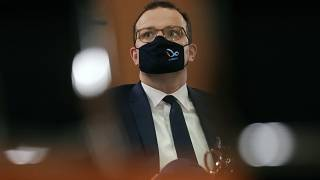 Wednesday, Oct. 21, 2020, German Health Minister Jens Spahn attends the weekly government cabinet meeting at the chancellery in Berlin