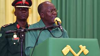 Tanzania ruling party CCM Presidential Candidate President John Magufuli addresses Dodoma region elders at the climax of his election campaign on Tuesday. Tuesday, Oct. 27