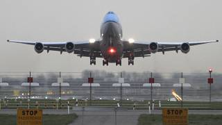 In this file photo dated Monday April 19, 2010, The first of three KLM passenger planes heading to New York takes off from Schiphol airport in Amsterdam, Netherlands.