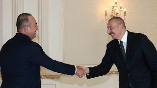 Azerbaycan Cumhurbaşkanı Aliyev, Dışişleri Bakanı Çavuşoğlu'nu kabulş etti