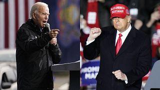 Montage photographique : Joe Biden et Donald Trump, le 1er novembre 2020