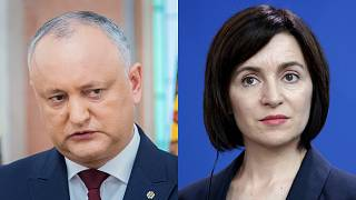 Incumbent Moldovan President Igor Dodon (Left) and pro-European candidate Maia Sandu (right).