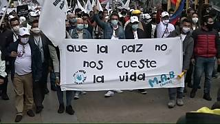 Marcha de exguerrilleros de las FARC en Bogotá
