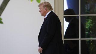 الرئيس دونالد ترامب يغادر المكتب البيضوي في البيت الأبيض. 16 مايو  2019.