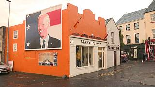 A mural of Democratic candidate Joe Biden in Ballina, County Mayo, Ireland. October 2020.
