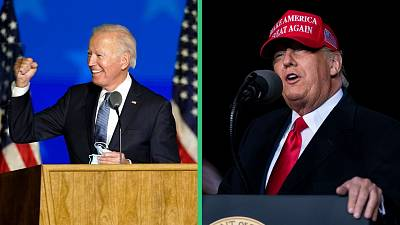 Democratic presidential candidate Joe Biden (L) and US President Donald Trump (R) campaigning in the final days of the election.