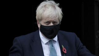 British Prime Minister Boris Johnson leaves 10 Downing Street in London to go to the Houses of Parliament. Monday, Nov. 2, 2020.