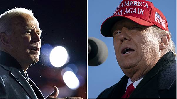 Joe Biden (left) is strengthening his lead against rival Donald Trump (right), according to latest forecasts