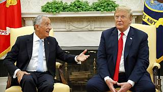 President Donald Trump meets with Portuguese President Marcelo Rebelo de Sousa in the Oval Office of the White House in Washington, Wednesday, June 27, 2018