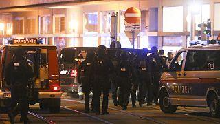Ambulances et policiers déployés dans une rue de vienne après l'attaque qui a fait trois morts dans la capitale autrichienne, le 2 novembre 2020.