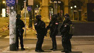 Αστυνομικοί στο κέντρο της Βιέννης μετά την επίθεση