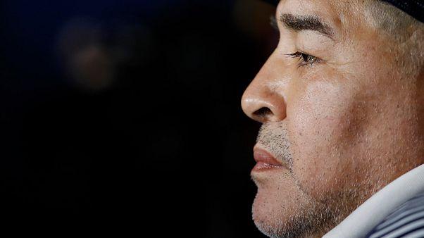Diego Maradona em março deste ano durante um jogo contra o Boca Juniors